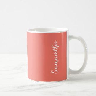 Peach Echo Soft Orange Solid Color Personalized Basic White Mug