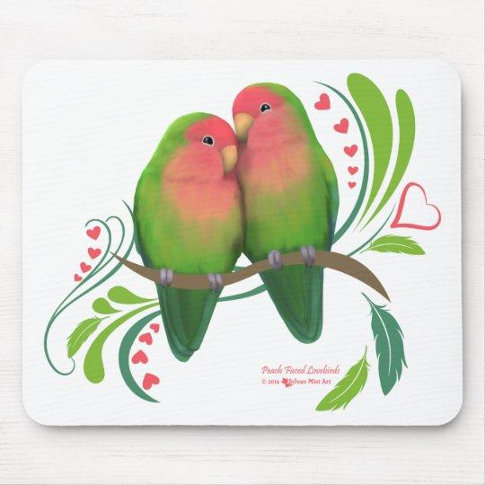 Peach Faced Love Birds Mouse Pad