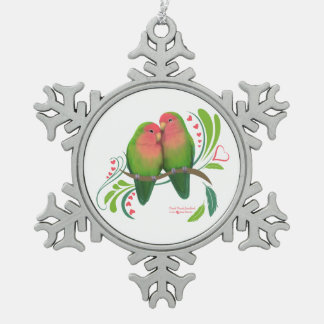 Peach Faced Love Birds Snowflake Pewter Christmas Ornament