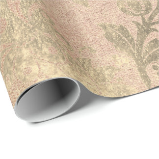Peach Faux Gold Floral Cottage Grungy Damask Wrapping Paper