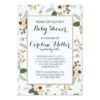 Peach Floral Baby Shower Invitation