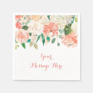 Peach Floral Baby Shower Paper Napkin