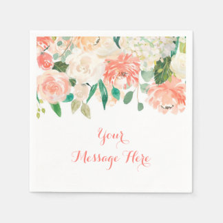 Peach Floral Baby Shower Paper Serviettes
