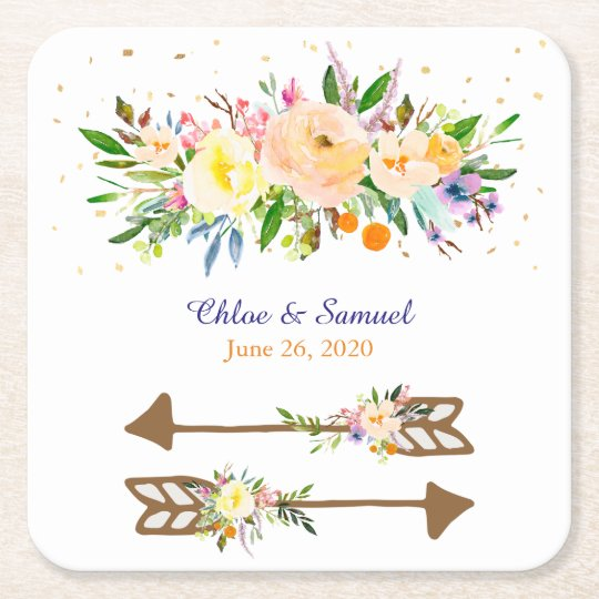 Peach Floral Bouquet Wedding Square Paper Coaster