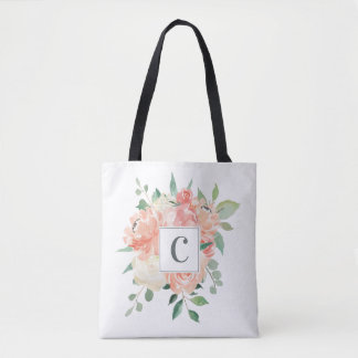 Peach Floral Bouquet with Any Monogram Tote Bag