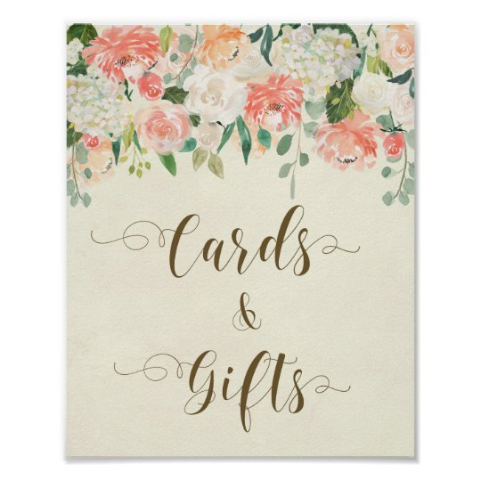 Peach floral cards and gifts sign ivory wedding