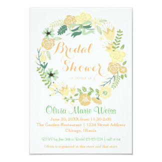 Peach Floral Circle Wreath-3x5Bridal Shower Invite