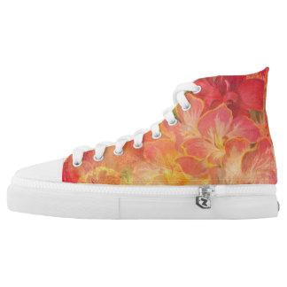 Peach Floral Design High Tops