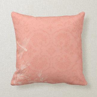 Peach Floral Dragonfly Cushion