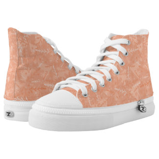 Peach Floral High Top Sneakers