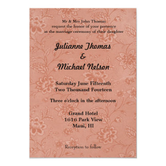 Peach Floral Personalized Invitations