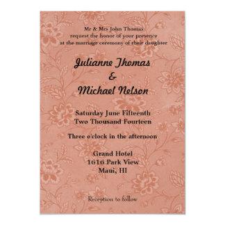 """Peach Floral 5"""" X 7"""" Invitation Card"""
