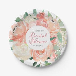 Peach Floral Medley Bridal Shower Paper Plate