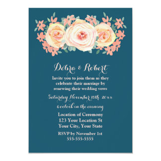 Peach Floral Navy Blue Vow Renewal Invitation