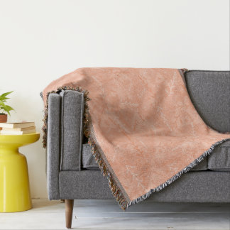 Peach Floral Throw Blanket