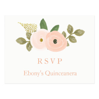Peach Floral Watercolor Quinceanera RSVP Postcard
