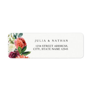 Peach Floral Wedding Envelope Return Address