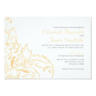 Peach Flourish Wedding Invitations Invites