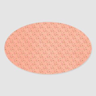 peach flower pattern background oval stickers