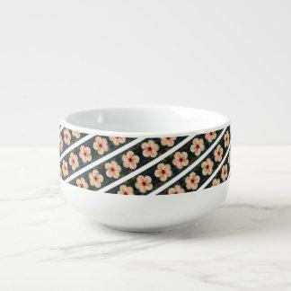 peach flower stripes soup mug