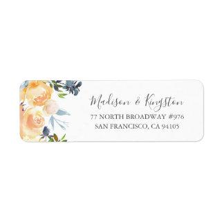 Peach Flowers Elegant Wedding Return Address Label