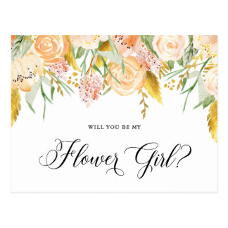 Peach Flowers Gold Will You Be Flower Girl Card