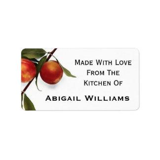 Peach Food Canning Label Address Label
