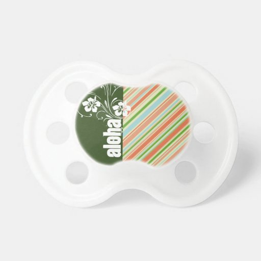 Peach & Forest Green Striped; Aloha Pacifiers