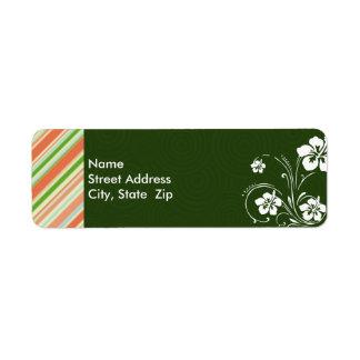 Peach & Forest Green Striped; Aloha Return Address Label
