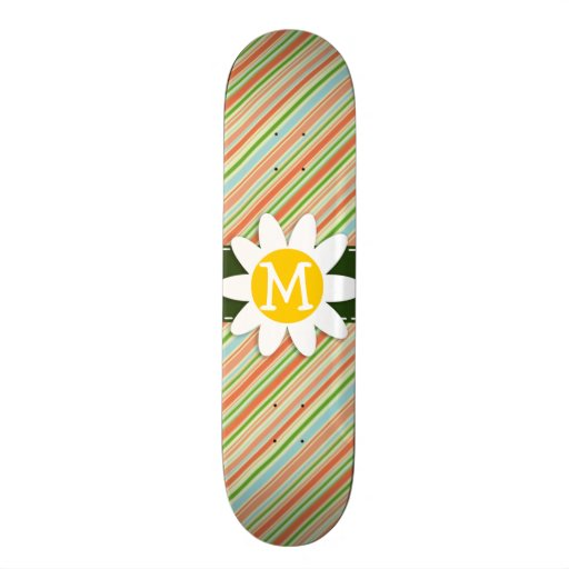 Peach & Forest Green Striped; Daisy Skateboards