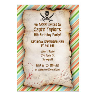 Peach & Forest Green Striped Jolly Roger Custom Invitations