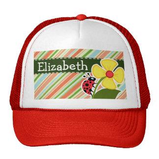 Peach & Forest Green Striped Ladybug Cap