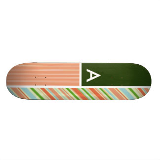 Peach Forest Green Stripes Striped Skate Decks