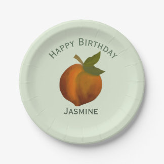 Peach fruit, happy birthday personalize name paper plate