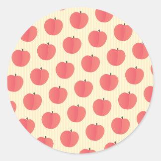 Peach Fruit Pattern Classic Round Sticker