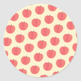 Peach Fruit Pattern Round Sticker