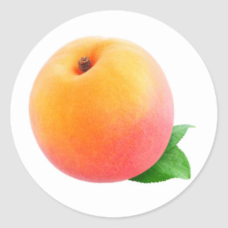 Peach fruit round sticker