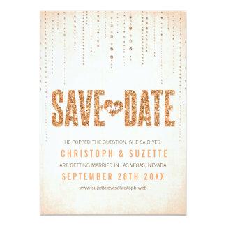 Peach Glitter Look Save The Date 13 Cm X 18 Cm Invitation Card