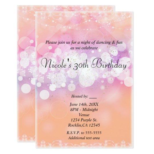 Peach Glow Sparkle Lights Glam Birthday Party Card