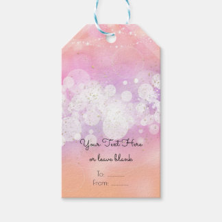 Peach Glow Sparkle Lights Glam Birthday Party Gift Tags