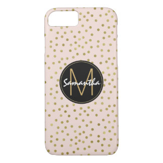 Peach Gold Confetti Dots Monogram iPhone 8/7 Case