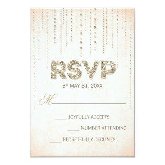 Peach & Gold Glitter Look Wedding RSVP Card 9 Cm X 13 Cm Invitation Card
