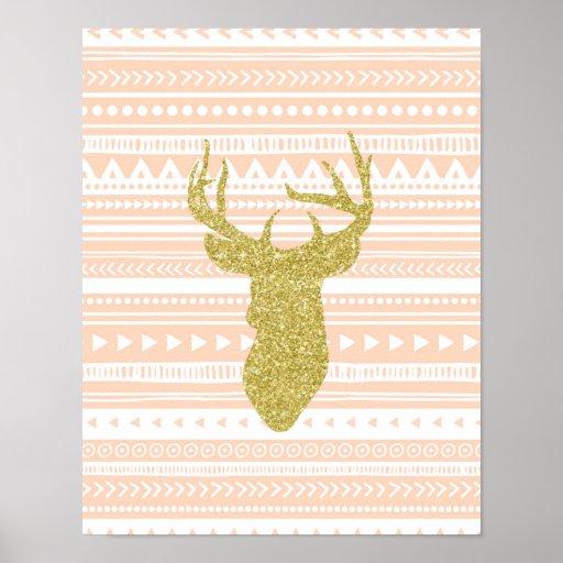 Peach Gold Nursery Decor Deer Tribal Pattern