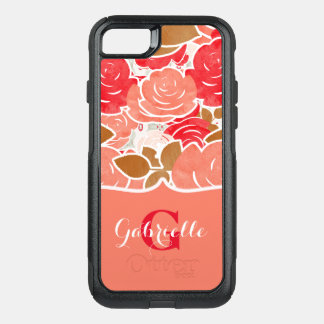 Peach & Gold Watercolor Roses Floral Monogram OtterBox Commuter iPhone 7 Case