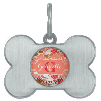 Peach & Gold Watercolor Roses Floral Monogram Pet ID Tag