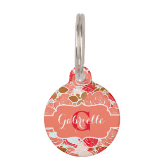 Peach & Gold Watercolor Roses Floral Monogram Pet ID Tags