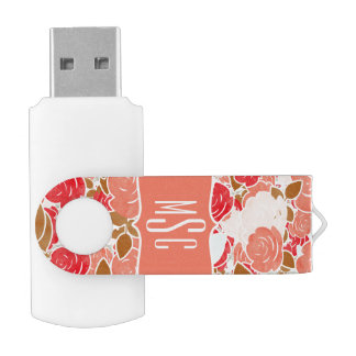 Peach & Gold Watercolor Roses Floral Monogram USB Flash Drive