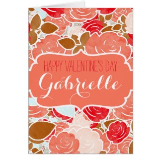 Peach Gold Watercolor Roses Happy Valentine's Day Card