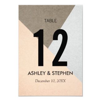Peach Gray Brown Geo Triangles Table Numbers 9 Cm X 13 Cm Invitation Card