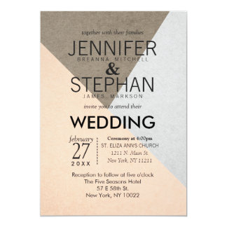 Peach Gray Brown Geo Triangles Wedding Invitations